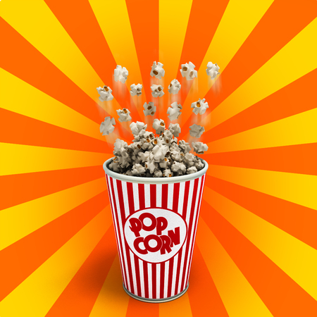Popcorn in a striped red glass flies 3d render