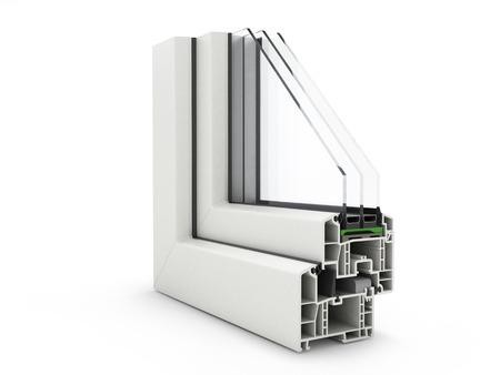 Profilo finestra di plastica isolato su bianco Archivio Fotografico - 65580914