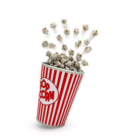 Popcorn in a striped red glass flies 3d render on a white background