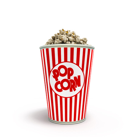 take away: Popcorn in striped bucket 3d render on white background