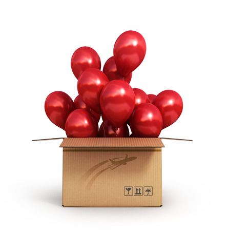 red balloons in a cardboard box for deliveries isolated on white background 3d render