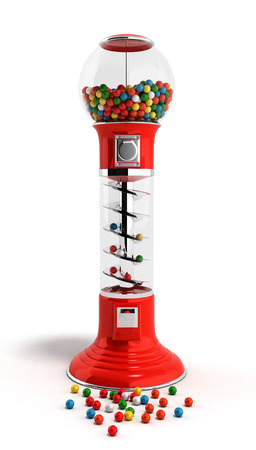 multicolored gumballs: red vintage gumball dispenser machine made of glass and reflective plastic with chrome trim filled with multicolored gumballs on an 3d render isolated white background