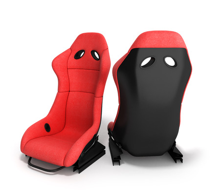 kph: sporty red automobile armchairs 3d render on a white background