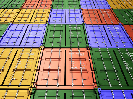 dockyard: Stacked Colorful Cargo Containers Industrial and Transportation Background 3d render Stock Photo