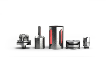 atomizer: serviced atomizer in disassembled form for soaring electronic cigarettes 3d render on white