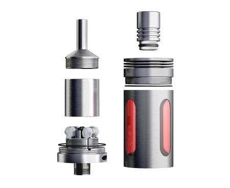 atomiser: serviced atomizer in disassembled form for soaring electronic cigarettes 3d render on white