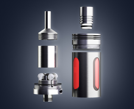 atomiser: serviced atomizer in disassembled form for soaring electronic cigarettes 3d render Stock Photo