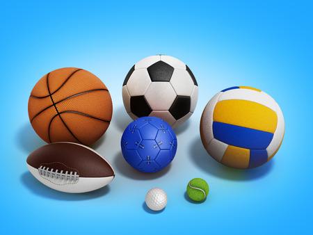 handball: various sports balls 3d render on gradient