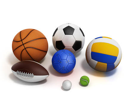 water polo: various sports balls 3d render on white