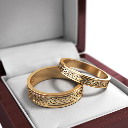 wedding bands: wedding bands, wedding rings in the red box, 3d render