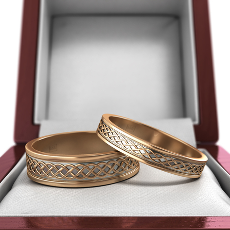 wed beauty: wedding bands, wedding rings in the red box, 3d render