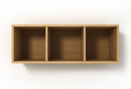three shelves: Suspended light shelves with three sections isolated on white background