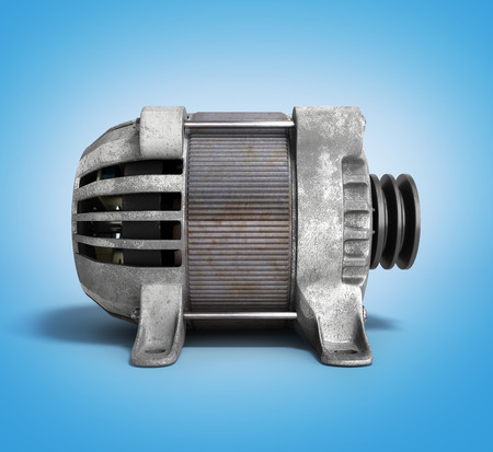 ac: Electric motor 3d render isolated on the gradient