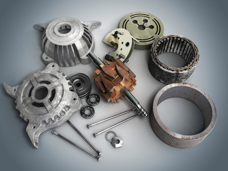 motors: Opened electric motor 3d render isolated on gradient background