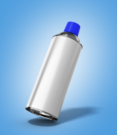 grease paint: bottle spray paint or automotive grease white 3d render on blue gradient background
