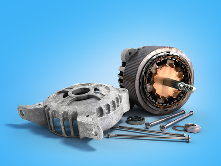 Opened electric motor 3d render isolated on blue background