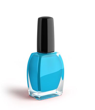 blue nail polish bottle 3d render on white background