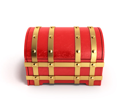 empty keyhole: red chest empty 3d render on a white background Stock Photo