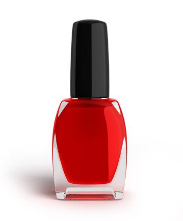 varnish: red nail polish bottle 3d render on white background