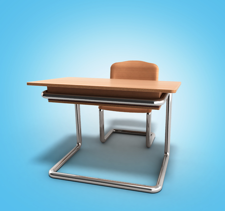 school desk and chair 3d render on blue gradient background Stock Photo