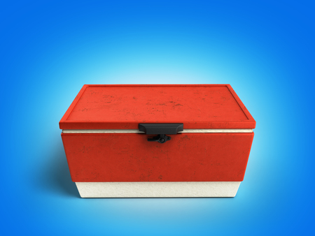 cooler boxes: beach refrigerator Cooler red 3d render on gradient background Stock Photo
