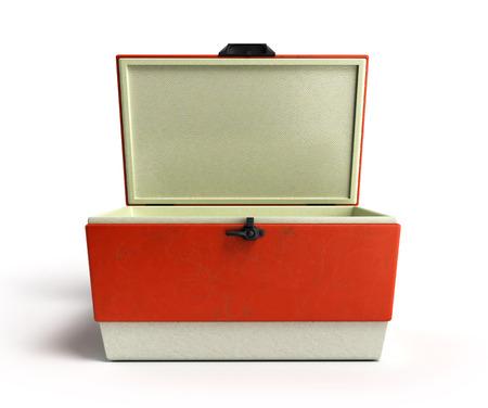 Rendere frigorifero spiaggia aperta del dispositivo di raffreddamento rosso 3D su uno sfondo bianco Archivio Fotografico - 65581205