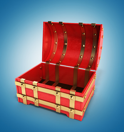 empty keyhole: open red chest empty 3d render on gradient background