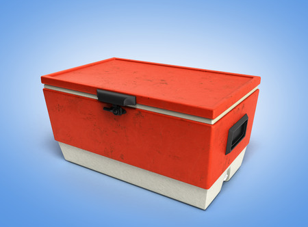 refrigerate: beach refrigerator Cooler red 3d render on blue gradient background Stock Photo