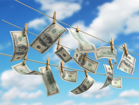 concept of money laundering dollar money bills on rope 3d render