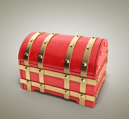 red chest empty 3d render on gradient background Stock Photo