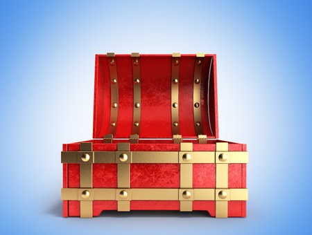 empty keyhole: open red chest empty 3d render on a gradient background