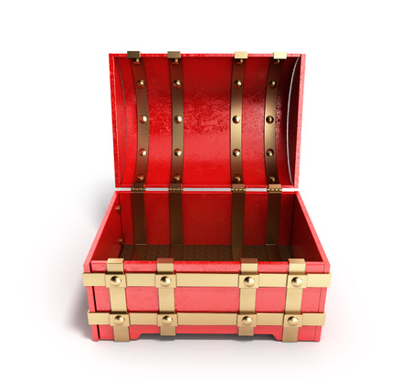 open red chest empty 3d render on a white background Stock Photo