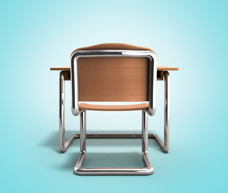 school desk and chair 3d render on gradient background Stock Photo