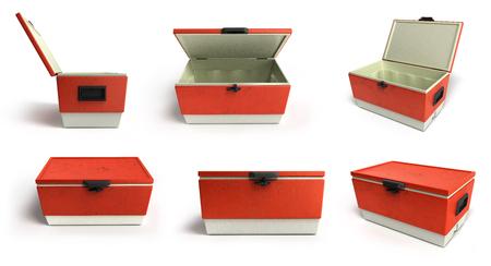 해변 냉장고의 컬렉션 쿨러 빨간색 흰색 배경에 3d 렌더링
