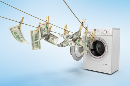 concept of money laundering dollar money bills on rope 3d render on gradient