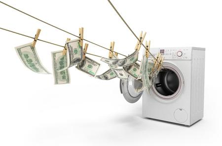 돈 개념 돈세탁 밧줄에 달러 돈을 청구서 화이트 3d 렌더링