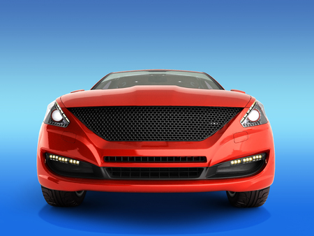red car front view 3d render on gradient