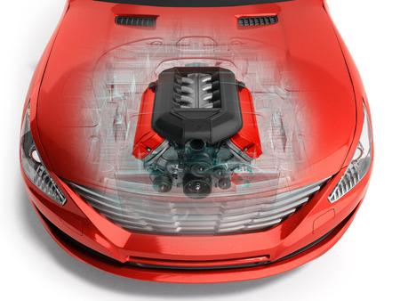 motor van de auto in de auto 3D render op wit