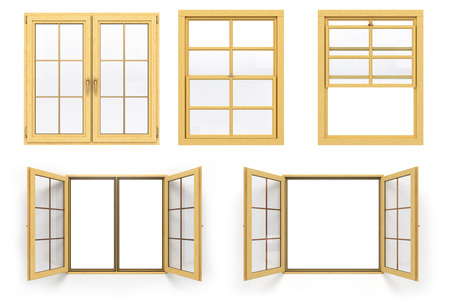 softwood: collection of wooden windows 3d render isolated on white background Stock Photo