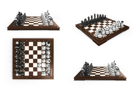 laid: collection of wooden chess laid in the original position on the chessboard 3d render on white background Stock Photo