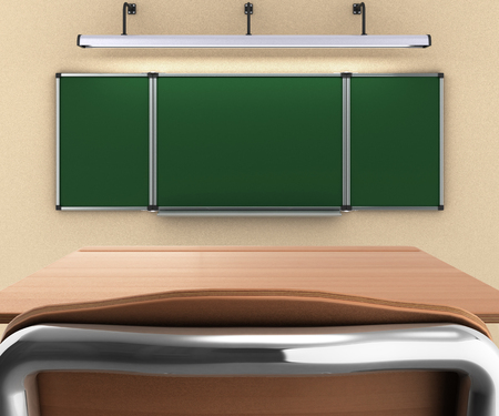 final college: school desk and chair 3d render whith school desck