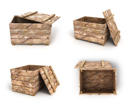 contoured: collection of old wooden box 3d render on white background