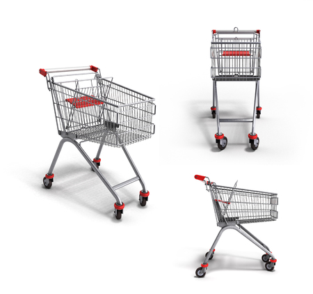 mart: collection of empty trolley from the supermarket 3d render on white background Stock Photo