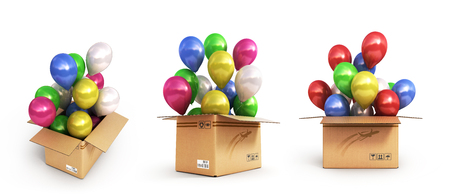 collection of colored balls in a cardboard box for deliveries isolated on white background 3d illustration Stock Photo