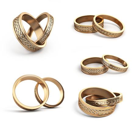 colección de anillos de boda de oro grabado de 3D en blanco