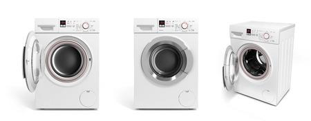 workingman: collection of Washing machine on white background 3D illustration