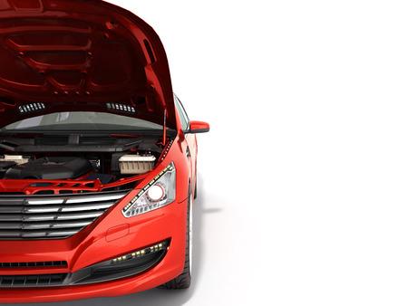 白のエンジンの 3 d レンダリングの表示で車のボンネットを開く