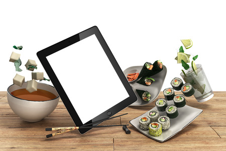 chop sticks: Online Japanese food delivery concept with sushi rolls on an electronic tablet and chopsticks 3d render Stock Photo