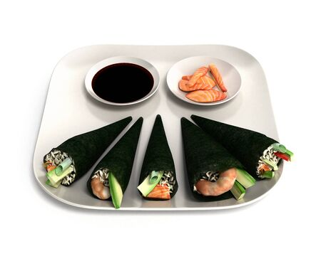 Japanese food delivery concept with sushi rolls 3d illustration