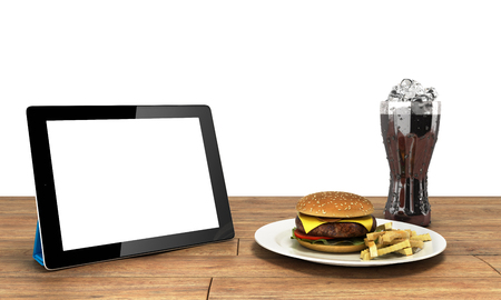 Tablet computer with a blank screen on the wooden table with a hamburger and a glass of cola with ice Free space for text 3d render on white